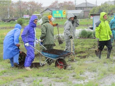 慣れないアズマ社員をよそに、青年部の皆様は手際よく、たい肥を蒔いていきます。